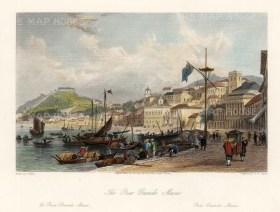 "Wright: Pria Grande, Macao. 1847. A hand coloured original antique steel engraving. 9"" x 7"". [CHNp1086]"