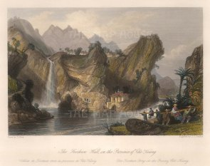"""Wright: Foochun Hill, Che Keang province. 1843. A hand coloured original antique steel engraving. 9"""" x 7"""". [CHNp1094]"""