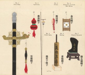 Chinese Pictorial Signs: Decorative signs for Pawn Shop, Apothecary, Instruments and Goldsmiths. Framed.