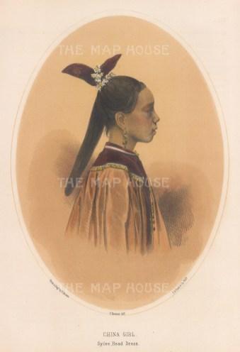 Profile of girl in Sycee Head Dress.
