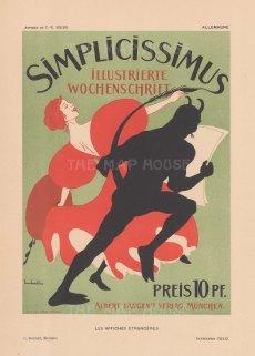 Simplicissimus: Cover for the satirical German weekly byThomas Theodore Heine.