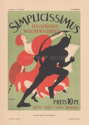 Simplicissimus: Cover for the satirical German weekly byThomas Theodore Heine.