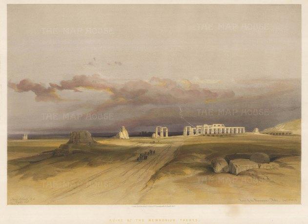 Memnomium: Ruins of the Memnomium,Temple of Ramses II (Lesotris) during a Storm.