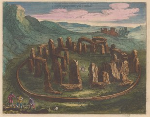 Stonehenge, Wiltshire: Bird's eye view based on the inset of John Speed's map of Wiltshire.With key in Latin.