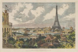 Panoramic view of the Paris Exhibition. Eiffel Tower, Trocedero and the Champ de Mars.