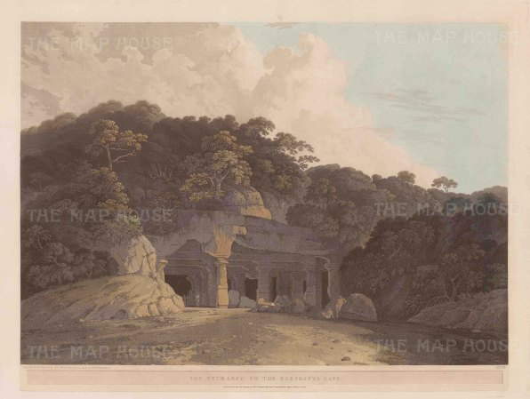 Elephanta Caves: Entrance to the caves at Gharapuri island in the harbour of Bombay (Mumbai).