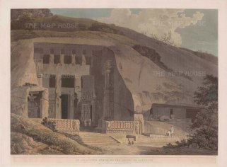 Kanheri Caves at Salsette: The excavated Chaitya, shrine or prayer hall, of one of the main ancient Buddhist caves.