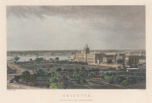 "Frith: Kolkata. c1860. A hand coloured original antique steel engraving. 8"" x 6"". [INDp1375]"