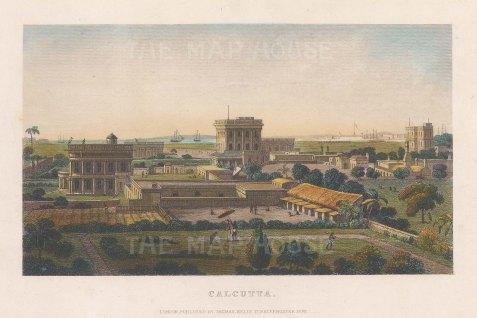 "Kelly: Kolkata. 1842. A hand coloured original antique steel engraving. 8"" x 5"". [INDp1390]"