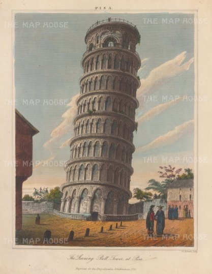 """Wilkes: Leaning Tower of Pisa. 1825. An original hand coloured antique copper engraving. 8"""" x 11"""". [ITp2276]"""
