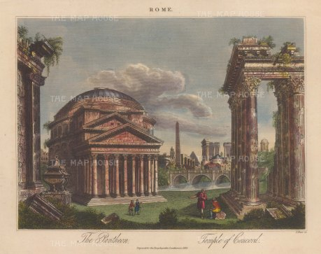 Pantheon and Temple of Concord. Engraved by John Pass.