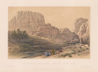 Petra: View of the Acropolis, Kusr Faron. Lower End of the Valley.