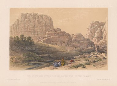 Petra: View of the Acropolis, Ksr Faron. Lower End of the Valley.
