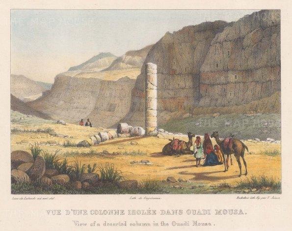 "Laborde: Ouadi Mousa. 1839. A hand coloured original antique lithograph. 9"" x 7"". [MEASTp1269]"