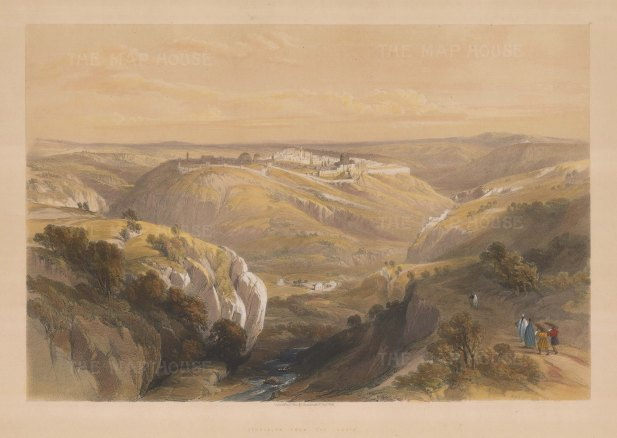 Valley of Jehosaphat: Panoramic view of Jerusalem from the south. towards Jerusalem.