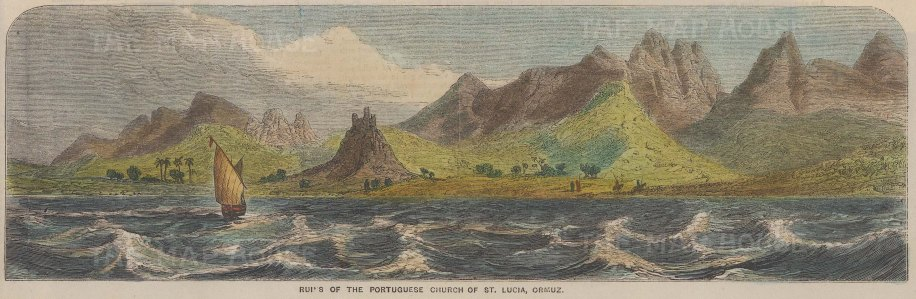 """Illustrated Times: Ormuz, Iran. 1857. A hand coloured original antique wood engraving. 10"""" x 3"""". [MEASTp1379]"""