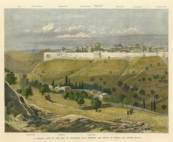Jerusalem from between The Mount of Olives and Mount Scopus. Details of landmarks in borders of view.