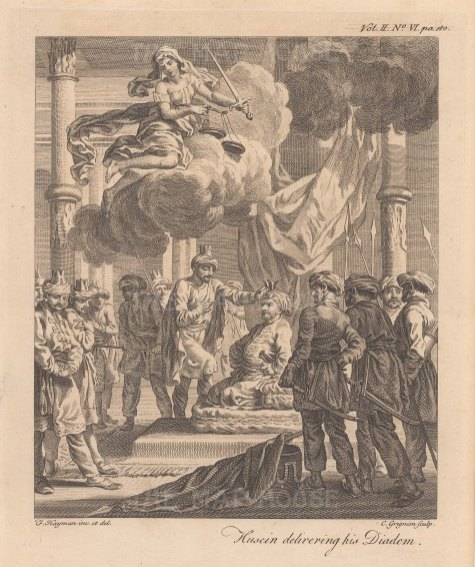 Shah Sultan Hussein delivering his diadem to the Afghan usurper Sultan Mir Maghmud in 1722.