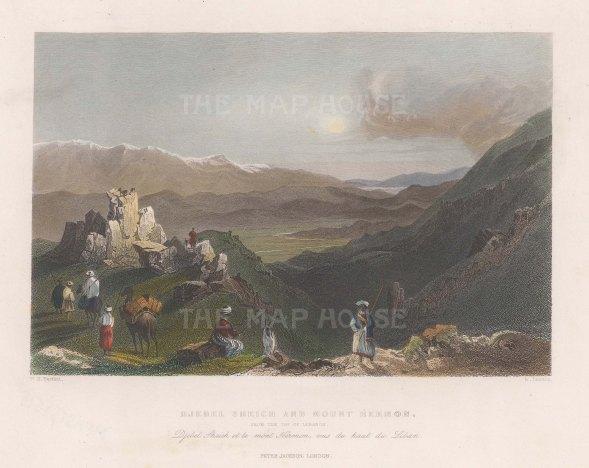 "Bartlett: Djebel Schieh & Mount Hermon. 1834. A hand coloured original antique steel engraving. 8"" x 5"". [MEASTp1518]"