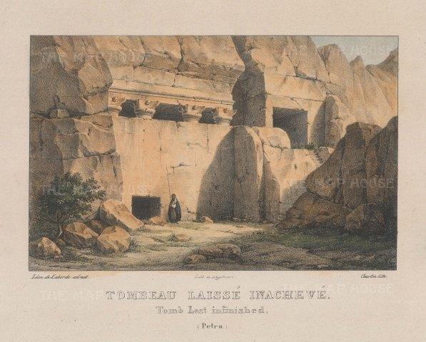 "Laborde: Petra. 1839. A hand coloured original antique lithograph. 10"" x 8"". [MEASTp1587]"