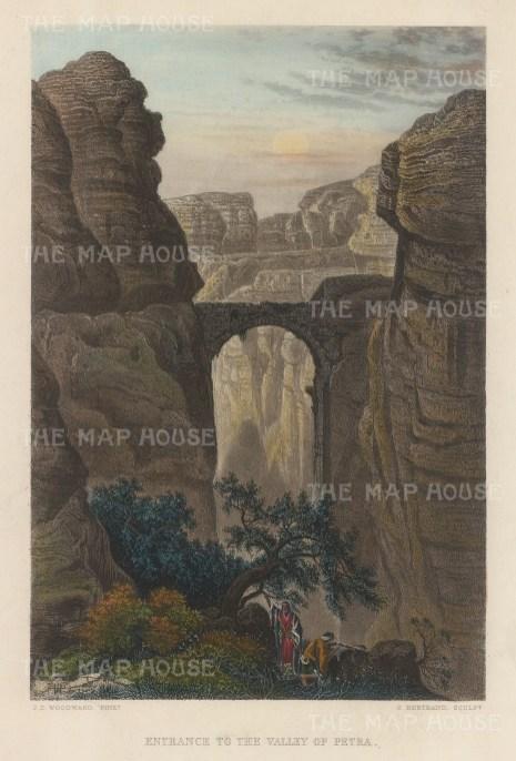 "Virtue: Petra. c1840. A hand coloured original antique steel engraving. 6"" x 8"". [MEASTp1637]"
