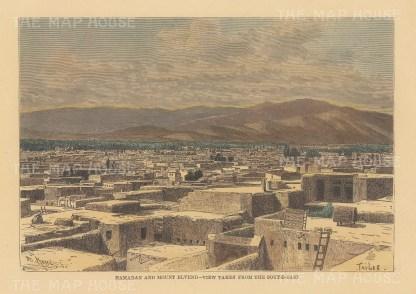 "Reclus: Hamadan, Iran. 1894. A hand coloured original antique wood engraving. 8"" x 6"". [MEASTp1652]"