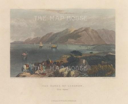 """Fullarton: Lebanon Mountains. 1856. A hand coloured original antique steel engraving. 5"""" x 4"""". [MEASTp1670]"""