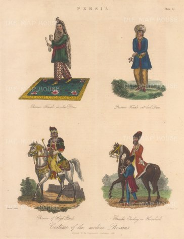 Persian lady in indoor and outdoor dress, a man of rank and a grandee smoking on his horse.