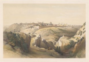 Panorama of Jerusalem from the Mount of Olives to the Mosque of Omar.