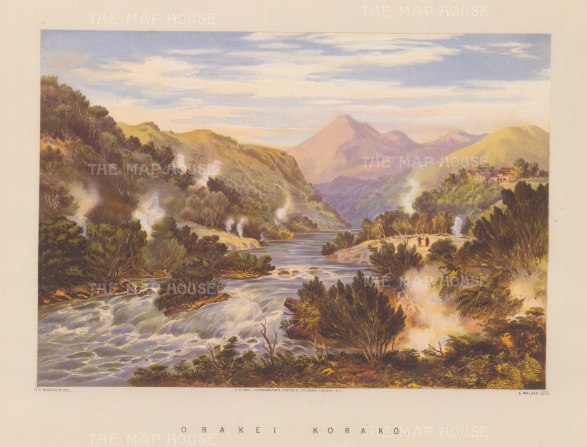 Orakei Korako. View of over Waikato River and the sinter terraces.