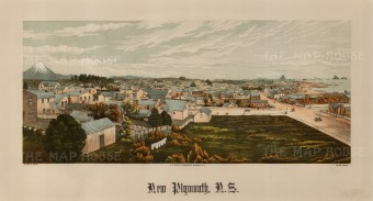 New Plymouth. Panoramic view with Mount Taranaki in the distance. Wakefield's New Zealand Land Company established numerous settlements that became principal towns.