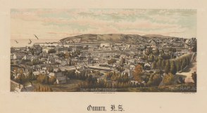 Oamaru. View overlooking the city towards the harbour. Wakefield's New Zealand Land Company established numerous settlements that became principal towns.