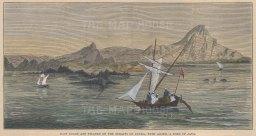 "Illustrated London News: Straits of Sunda, Java. 1883. A hand coloured original antique wood engraving. 9"" x 5"". [SEASp1051]"