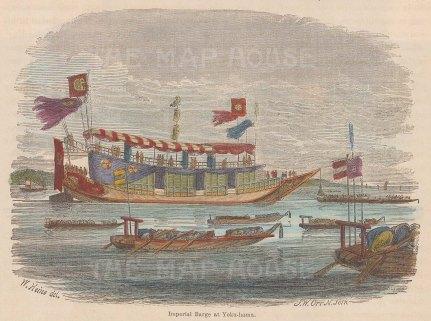 "Harper's Weekly: Yokohama. c1850. A hand coloured original antique wood engraving. 6"" x 5"". [SEASp1100]"