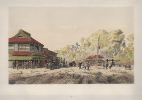 Tokyo (Yeddo): Tea House on main road in Akabane. Drawn from life during the diplomatic mission of Friedrich Albrecht zu Eulenberg to Japan, Siam & China 1859-62.