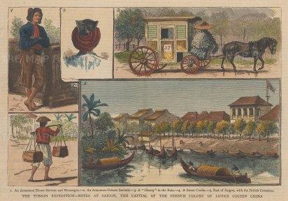 """Graphic Magazine: Ho Chi Minh (Saigon), Vietnam. 1883. A hand coloured original antique wood engraving. 9"""" x 7"""". [SEASp1273]"""