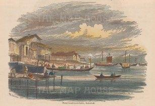 "Heine: Hakodadi. c1880. A hand coloured original antique wood engraving. 6"" x 5"". [SEASp1276]"