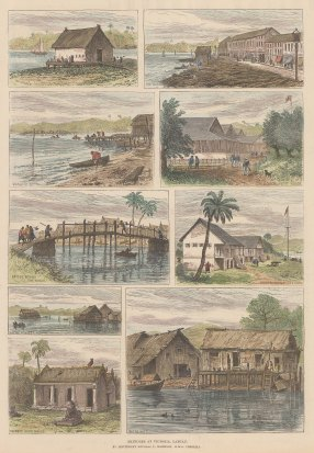"""Illustrated London News: Victoria, Malaysia 1888. A hand coloured original antique wood engraving. 10"""" x 14"""". [SEASp1284]"""