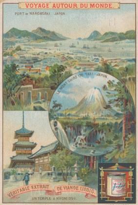 Three views in Japan: Port of Nagasaki, Mont Shiro and a Temple in Kiyomidsu.