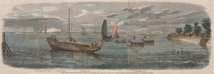 Procession of Men-of-War Boats escorting the Earl of Elgin on the Occasion of his landing at Jedo.
