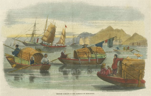 "Illustrated London News: Harbour of Hong Kong. 1857. A hand coloured original antique wood engraving. 9"" x 7"". [SEASp1418]"