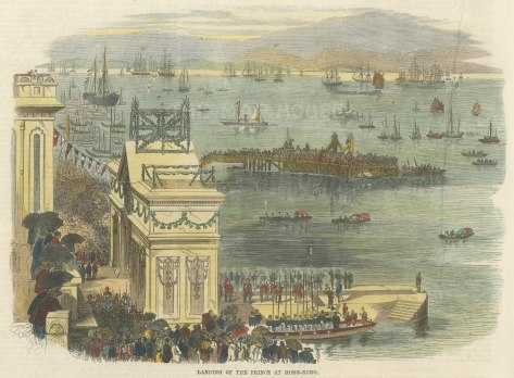 """Illustrated London News: Harbour of Hong Kong. 1870. A hand coloured original antique wood engraving. 9"""" x 8"""". [SEASp1419]"""