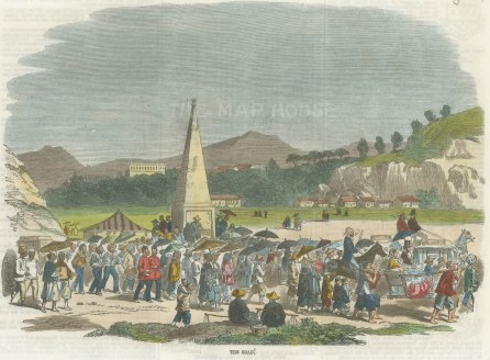 "Illustrated London News: Hong Kong. 1858. A hand coloured original antique wood engraving. 10"" x 7"". [SEASp1433]"