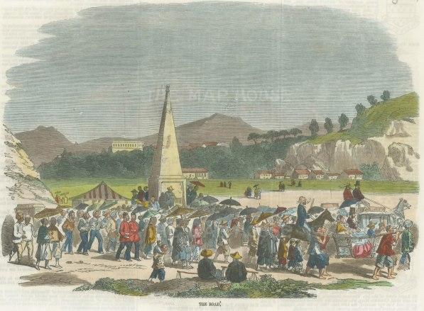 "Illustrated London News: Hong Kong. 1858. A hand coloured original antique wood engraving. 10"" x 7"". [SEASp1433]"