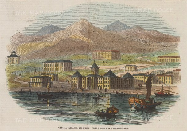 "Illustrated London News: Victoria Barracks. 1845. A hand coloured original antique wood engraving. 10"" x 7"". [SEASp1435]"