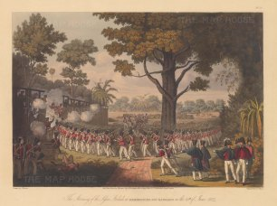 Kemmindine near Rangoon: The British Army storming the lesser stockade. First Anglo-Burmese War.