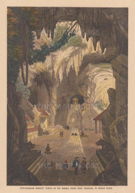 Vietnam: Tourane (Da Nang): Subterranean Buddhist temple.