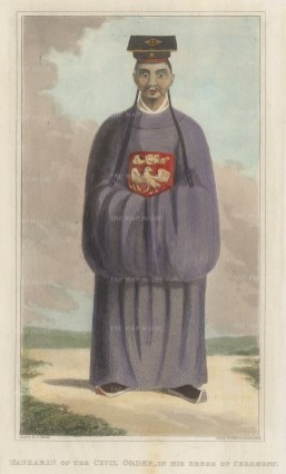 Vietnam. Mandarin of the civil order in ceremonial dress.