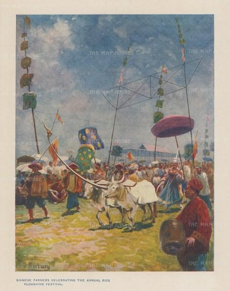"Norbury: Rice Ploughing Festival. 1913. An original antique chromolithograph. 4"" x 5"". [SEASp1641]"