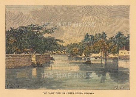 "Reclus: Surabaya, Java. 1894. A hand coloured original antique wood engraving. 8"" x 6"". [SEASp1719]"